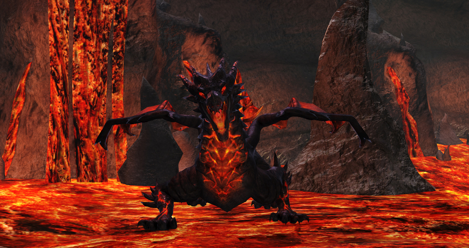 Savage Hunt - A Fabled Ancient dragon seen in his favorite environment, an active volcano!