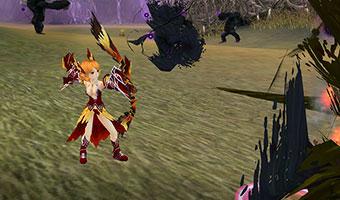 Weiblicher Jäger im Kampf mit Bogen