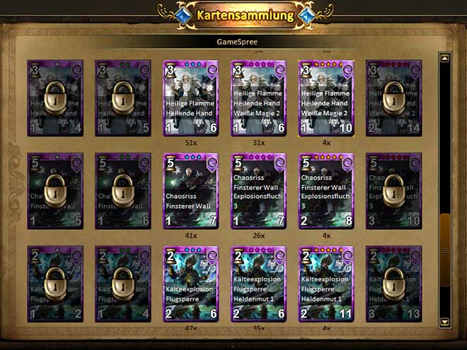 Kings & Legends Screenshot von der Kartensammlung