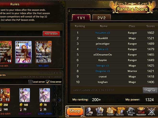 Kings & Legends screenshot from the ranking board