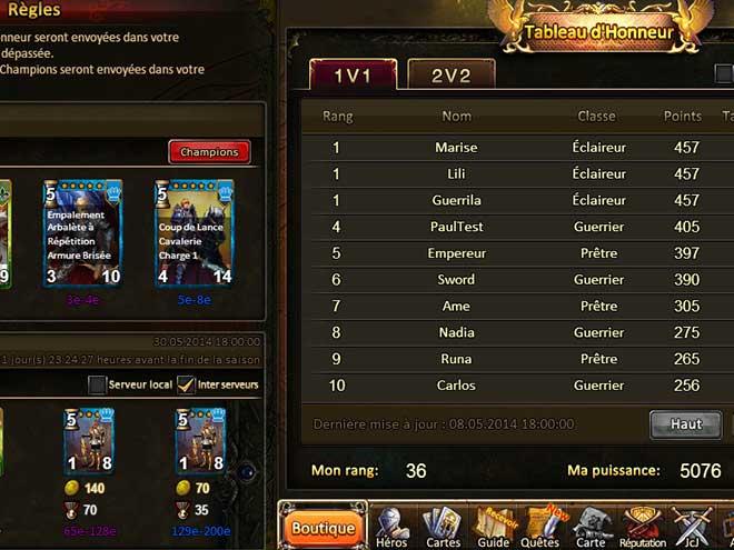 Kings & Legends capture d'écran tableau de classement