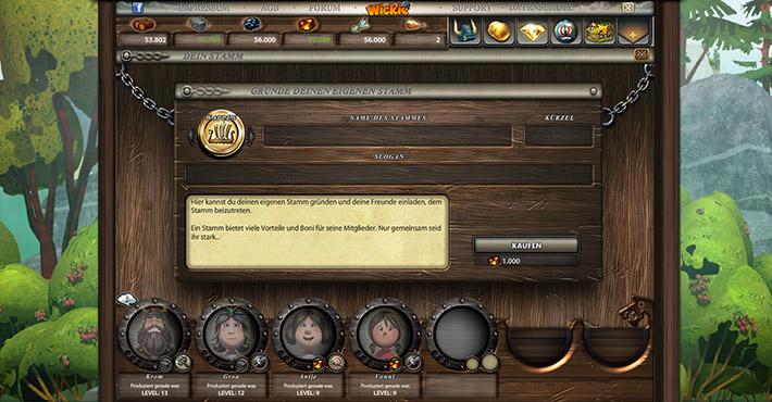 Wickie Online - Stamm erstellen